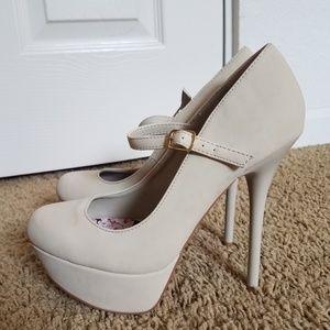 NEW Cream Strap Heels in size 7